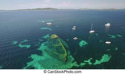 Aerial view of the sunken ship near the island Dugi otok,...