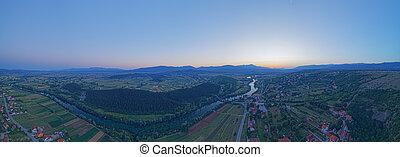 Aerial view of the sunset at river Cetina, Croatia