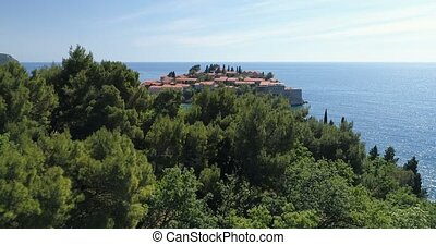 aerial view of the Sveti Stefan, small islet and resort in...