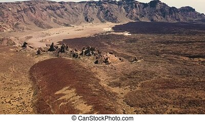 Aerial view of the Teide National Park, flight over the...