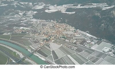 Aerial view of the town of Salorno, northern Italy
