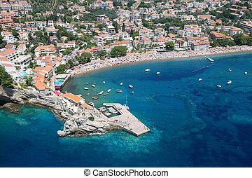 Aerial view of the town Petrovac, Montenegro. - Aerial view...