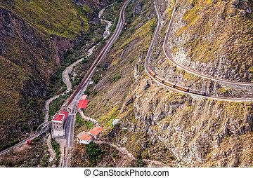 Aerial View Of The Train Devils Nose, Nariz Del Diablo