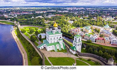 Aerial view of the Trinity Cathedral, Pskov Kremlin