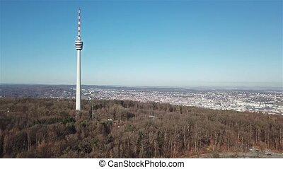 Aerial view of the TV Tower and the city of Stuttgart,...