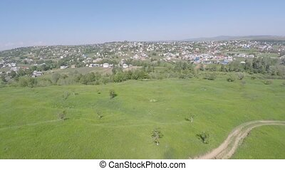 Aerial view of the Ukraine small town. drone view.