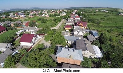 Aerial view of the Ukraine village. drone view.