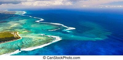 Aerial view of the underwater waterfall. Mauritius. Panorama