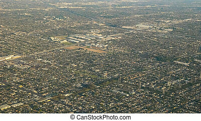 aerial view of the urban sprawl that is los angeles from an airplane