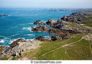 Ushant island rocky coastline
