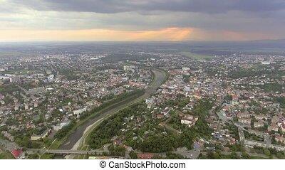 Aerial view of the Uzhhorod Castle, Ukraine