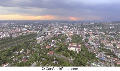 Aerial view of the Uzhhorod Castle, Ukraine
