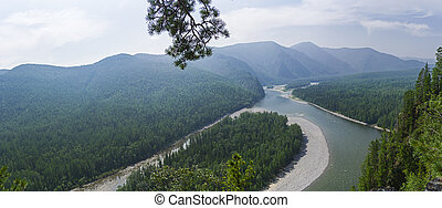 Aerial view of the valley of a mountain river. Siberia.
