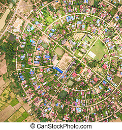 Aerial view of the village in a circle