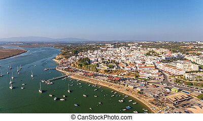 Aerial view of the village of Alvor, in the summer, in southern Portugal.
