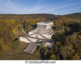 Aerial view of the Walhalla memorial, a hall of fame in the...