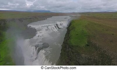 Aerial view of the waterfall Gullfoss in Iceland. Andreev.
