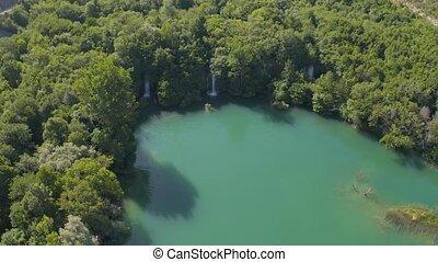 Aerial view of the waterfalls on the Brljan lake - Aerial...