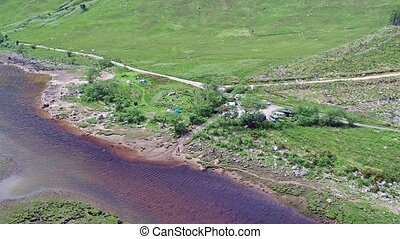 Aerial view of the wild camping area at loch etive, glen