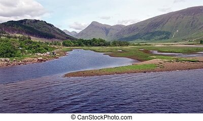 Aerial view of the wild camping area at Loch Etive, Glen...