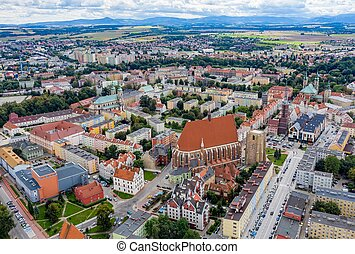 Aerial view of the wonderful city of Nysa in Poland