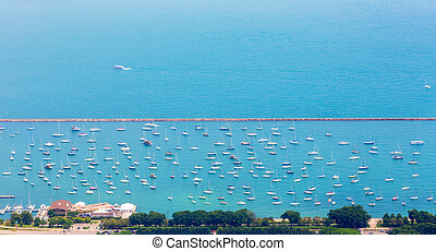 Aerial view of the yacht parking.