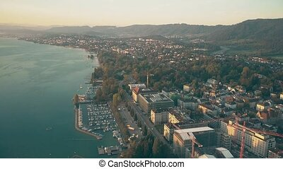 Aerial view of the Zurichsee or Zurich lake shore and moored...