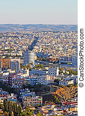 Aerial view of Thessaloniki, Greece in the evening