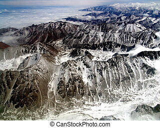 Aerial view of the Tian Shan mountains in Kyrgyzstan