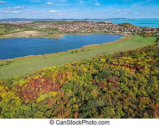 Aerial view of Tihany at lake Balaton in Hungary