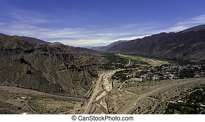 Aerial view of Tilcara. Jujuy. Argentina.
