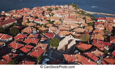 Aerial view of tile roofs of old Nessebar, ancient city,...
