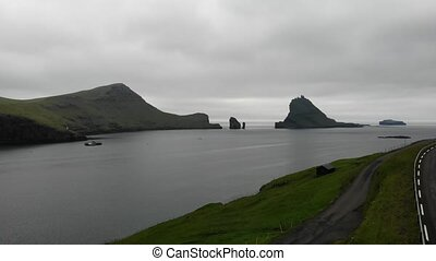 Aerial view of Tindholmur and Drangarnir islands in Faroe...