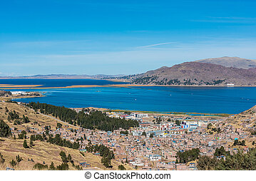 Aerial view of Titicaca Lake in the peruvian Andes Puno Peru