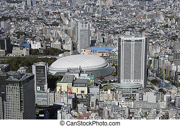 Aerial view of Tokyo Dome City areas
