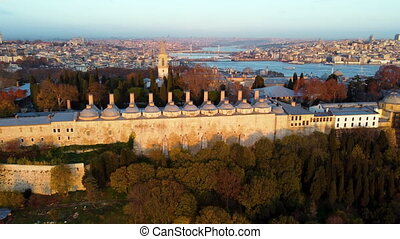 Aerial view of Topkapi Palace and Historical Peninsula in Istanbul. Footage in Turkey