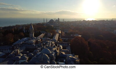 Aerial view of Topkapi Palace, Hagia Sophia mosque and The Blue Mosque (Sultanahmet) in Istanbul. Footage in Turkey