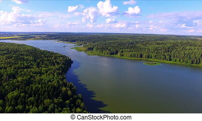 Aerial view of Torbeyevo lake in Moscow region, Russia