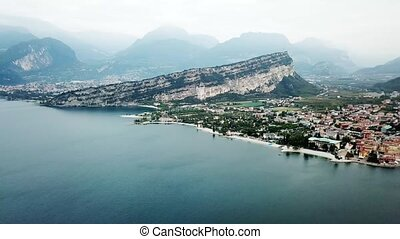 aerial view of Torbole, lake Garda. Lombardy. Italy Europe..