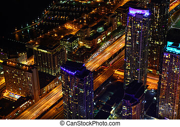An aerial view of Toronto city center at night
