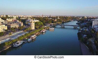 Aerial view of Torre del Ore and river Guadalquivir,...
