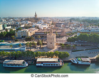 Aerial View Of Torre Del Oro In Seville Spain