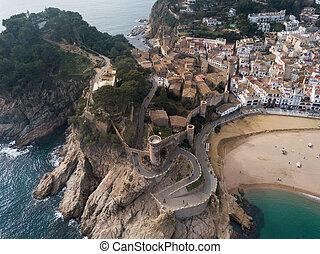 Aerial view of Tossa de Mar, Spain