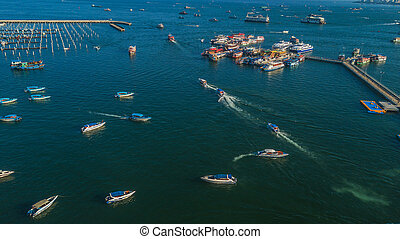 Aerial view of Tour port in Pattaya , Thailand