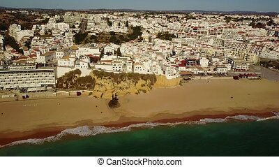 Aerial view of touristic Albufeira, Algarve, Portugal -...