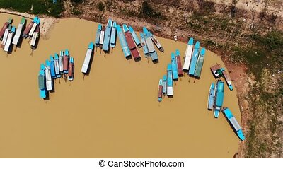 Aerial view of touristic boats viewed in Tonle-Sap lake,...