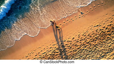Tourists walking at beach on a sunny day 4k - Aerial view of...