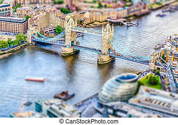Aerial view of Tower Bridge, London. Tilt-shift effect applied