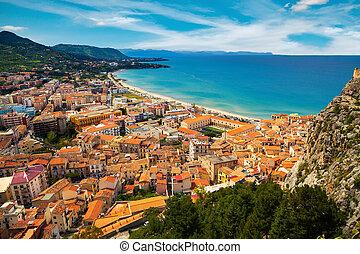 aerial view of town Cefalu