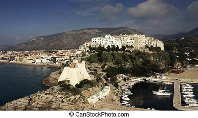 Aerial view of town of Sperlonga and ancient Torre Truglia ...